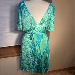 Low-V neckline, Wrap Dress